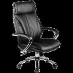"""Кресло руководителя Метта """"Lux"""" LK-13 CH, кожа черная """"NewLeather"""" №721, механизм качания"""